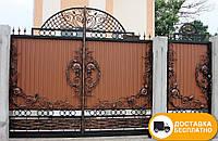 Кованые ворота с калиткой из профнастилом, код: Р-0191