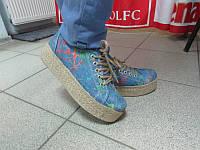 Слипоны голубые джинсовые на платформе плетение код 322А