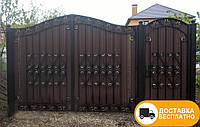 Ворота с коваными элементами и профнастилом, код: Р-0196
