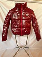 Дутая короткая куртка из лаковой плащевки, цвет бордовый, размеры 42 - 48