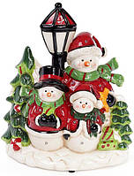 "Новогодняя музыкальная статуэтка ""Трио снеговиков"" с LED-подсветкой 23.7х13.9х27.8см"