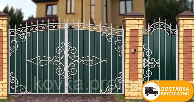 Ворота с коваными элементами и профнастилом, код: Р-0197