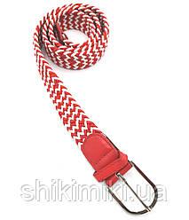 Ремень поясной  плетенка резинка красно-белый (3.5 см)