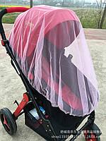 Москитная сетка для детской коляски розовая