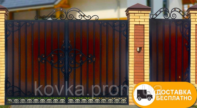 Ворота с коваными элементами и профнастилом, код: Р-01100