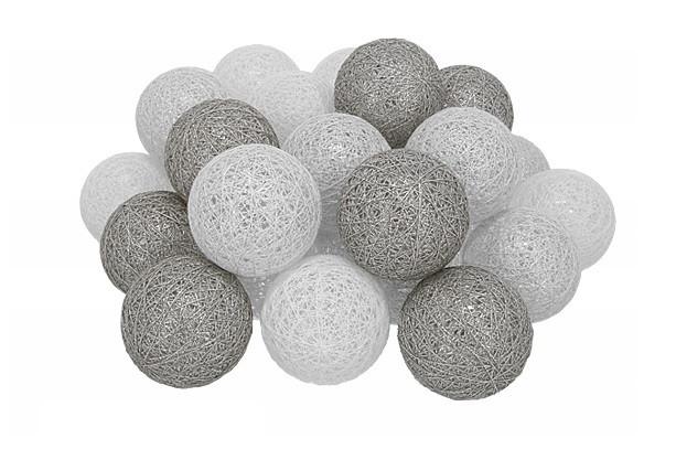 Гирлянда Тайские Шарики LTL Provense Cotton Balls 30led, диам 6см, длина 540см на батарейках АА