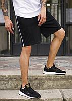 """Чоловічі стильні шорти """"Карл Джонсон"""" чорні з білою смугою - L"""