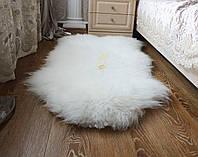 Шкура овечья новозеландка для интерьера люкс-класса белый цвет ковер 130х75
