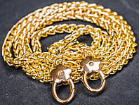 Цепочка (ручка) для сумки клатча с карабином 65-046 золото, 120 см