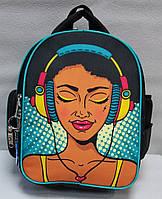 """Школьный рюкзак """"Bagland"""" чёрный/серый +принт Код ШК-03"""