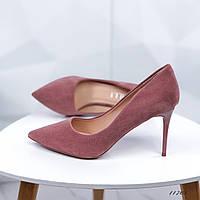 Туфли лодочки женские на шпильке пудра 11703
