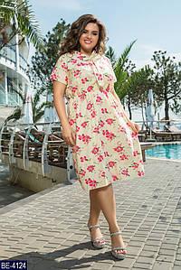 Платье женское летнее Размер 52-54, 56-58, 60-62. Ткань лен. Цветочный принт