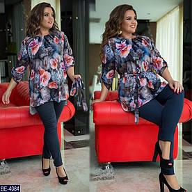 Женский костюм блузка+джинсы стрейч. 2 цвета. Размер 48-50, 52-54, 56-58, 60-62