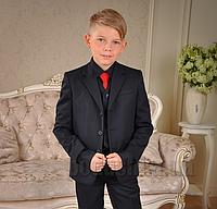 Пиджак школьный для мальчика Милана ПО-03102 черный 30 (Р-116, ОГ-60, ОТ-54)