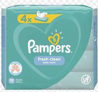 .Pampers. Детские влажные салфетки Pampers Fresh Clean baby scent,  (4 х 52 шт) 208 шт  (077949)