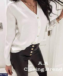 Блуза женская однотонная. Размер 48-50, 52-54. Цвет черный,пудра, капучино,белый,красный, электрик