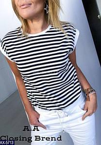 Женская футболка Цвет черный с белой, красный с белой. Размер 42-44, 44-46. Ткань турецкая вискоза.