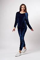 Женский велюровый костюм. Код модели КТ-20-67-19. Цвет синий.