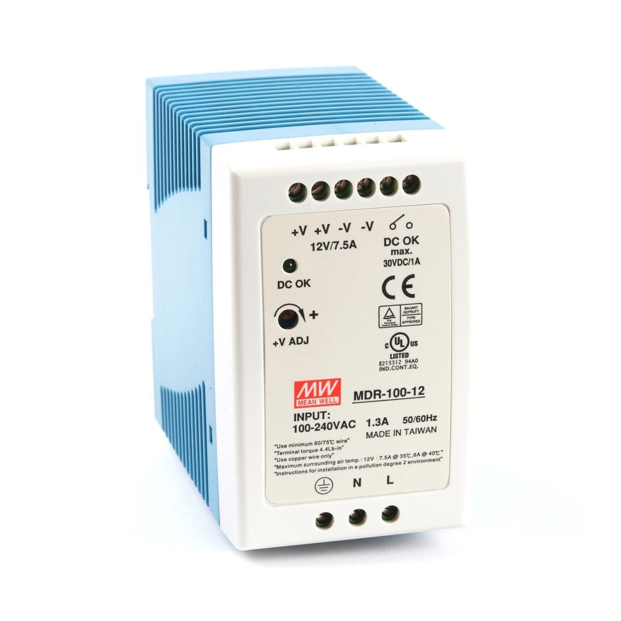 "Блок питания импульсный Mean Well на DIN-рейку 90W 12V (IP20, 7,5A) Series ""MDR"""