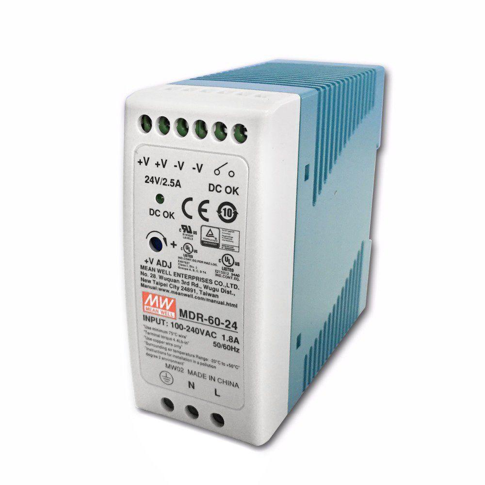 "Блок питания импульсный Mean Well на DIN-рейку 60W 24V (IP20, 2,5A) Series ""MDR"""