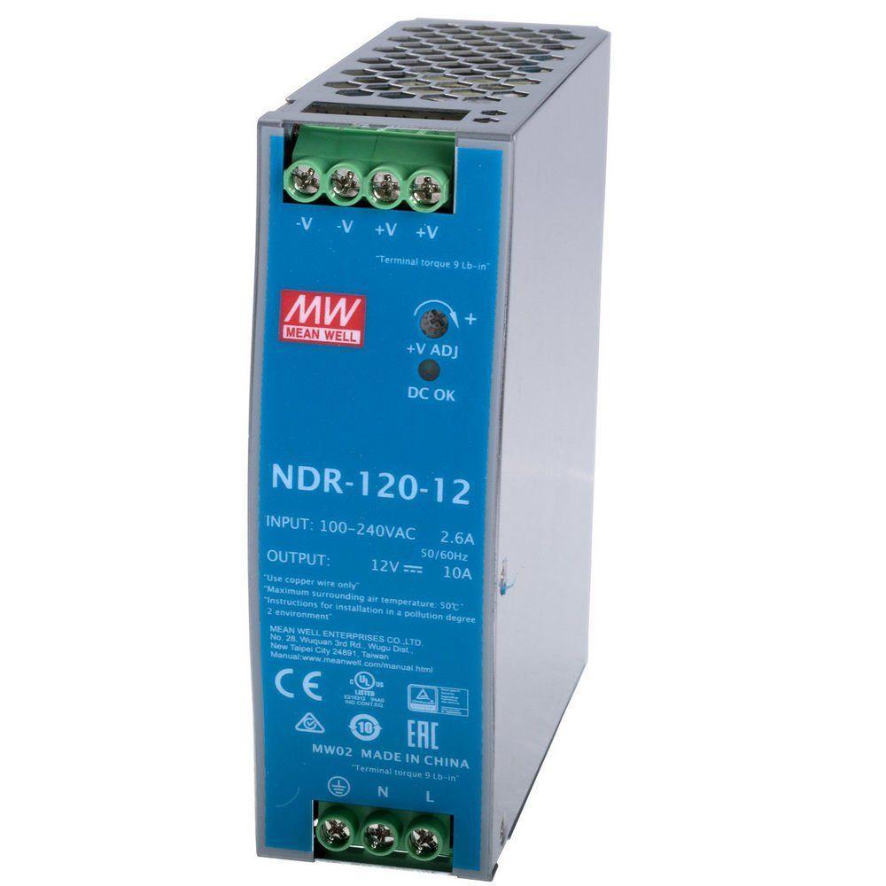 "Блок питания импульсный Mean Well на DIN-рейку 120W 12V (IP20, 10A) Series ""NDR"""