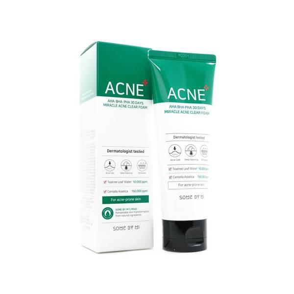 Пенка для проблемной кожи лица SOME BY MI AHA.BHA.PHA 30 Days Miracle Acne Clear Foam 100мл