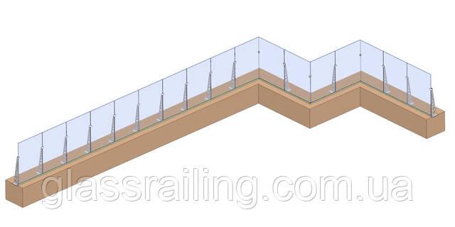 Ograzhdenie terrasyi so steklyannyimi rebrami zhestkosti