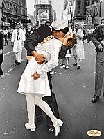"""Схема для вышивки бисером на атласе """"Легендарный поцелуй"""". Фотограф Альфред Эйзенштадт"""