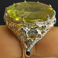 Кольцо серебро 925 пробы лимонный кварц 44,45 карат, фото 1