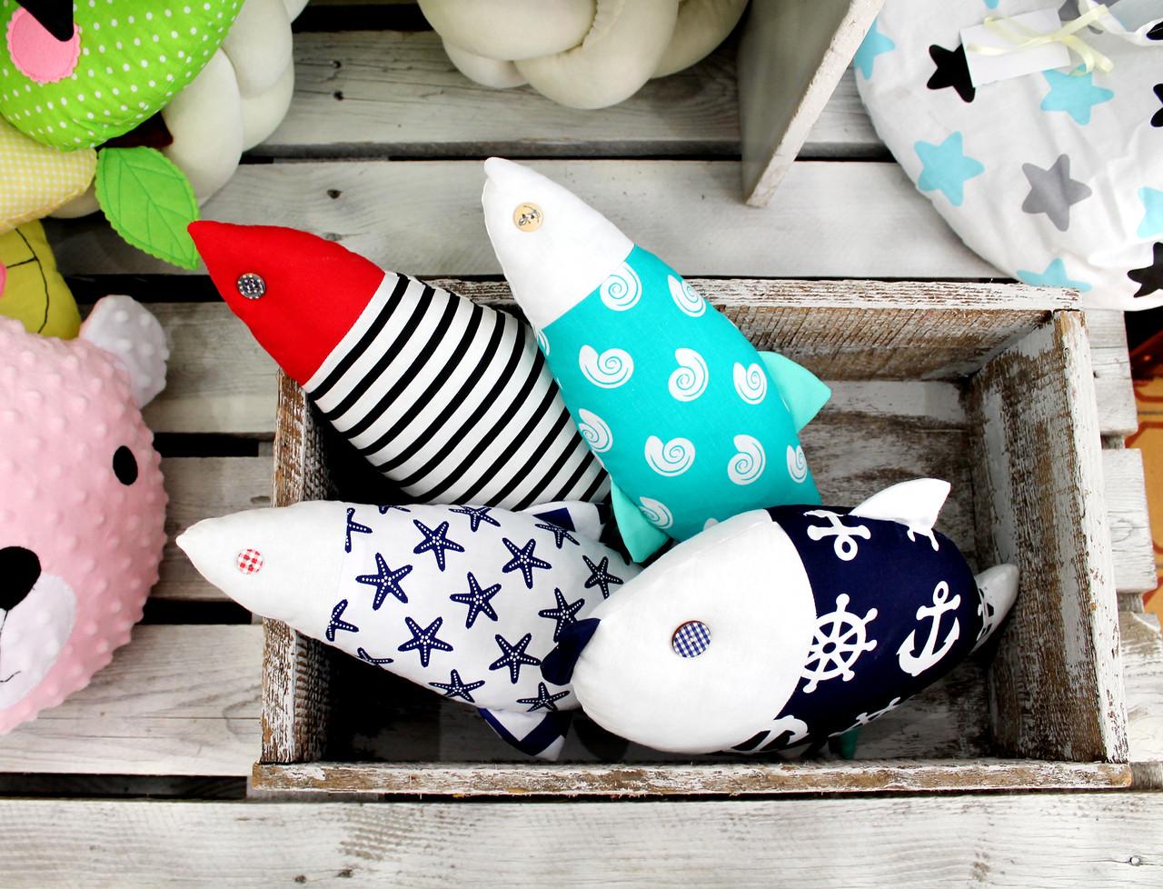 Детская подушка игрушка Рыбки (17*30см)