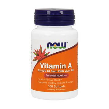 Vitamin A 25,000 IU Fish Liver Oil (100 softgels) NOW