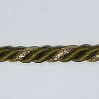 Шнур-канат витой 10мм 100ярдов оливковый плюс золото