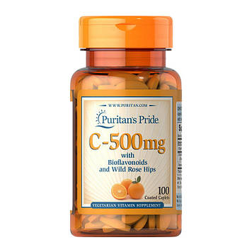 Vitamin C-500 mg with Bioflavonoids and Rose Hips (100 caplets) Puritan's Pride