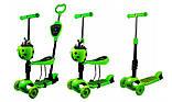 Самокат беговел scooter с родительской ручкой 5в1 зеленый, фото 2