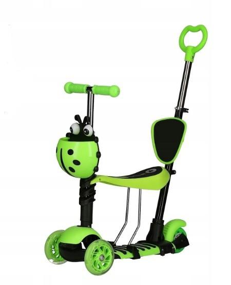 Самокат беговел scooter с родительской ручкой 5в1 зеленый