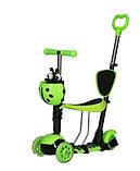 Самокат беговел scooter с родительской ручкой 5в1 зеленый, фото 5