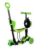Самокат беговел scooter с родительской ручкой 5в1 зеленый, фото 6