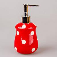 """Дозатор для жидкого мыла 200 мл. """"Белый горошек"""" красный, керамический"""