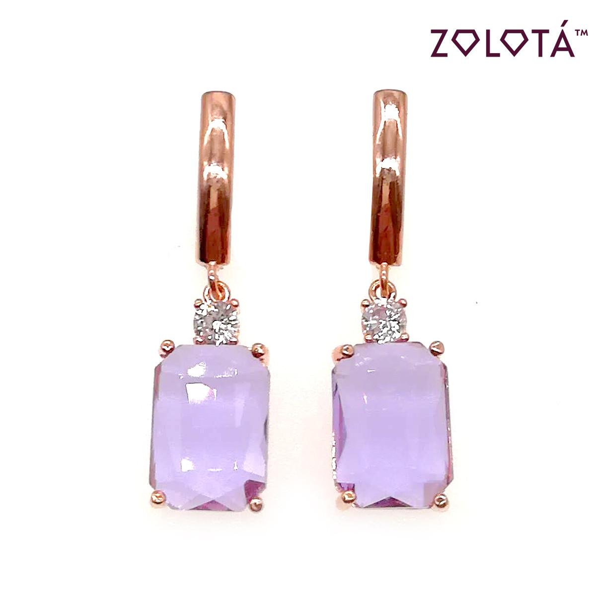 Сережки Zolota з бузковими і білими фіанітами (куб. цирконієм), з медичного золота, в позолоті, ЗЛ00435 (1)