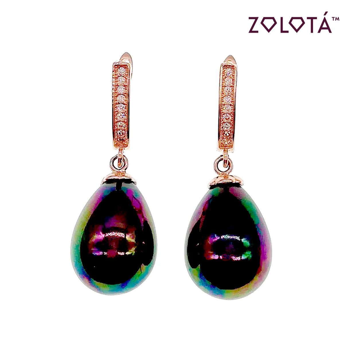 """Серьги Zolota с жемчугом """"майорка"""" цвета хамелеон, из медицинского золота, в позолоте, ЗЛ00446 (1)"""