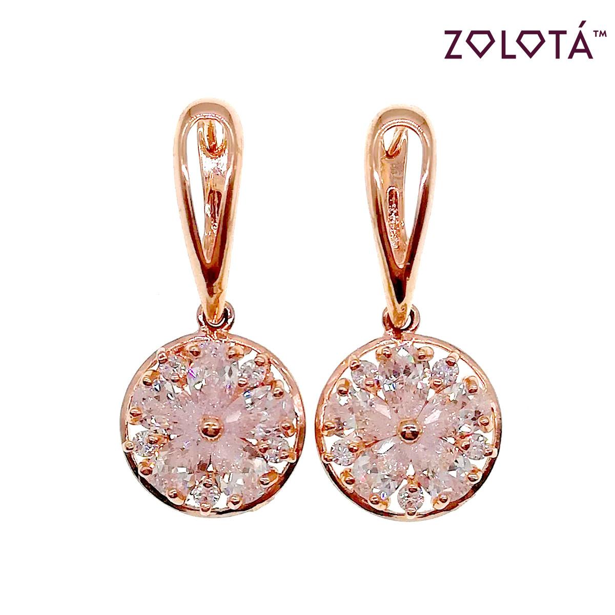 Сережки Zolota з білими фіанітами (куб. цирконієм), з медичного золота, в позолоті, ЗЛ00452 (1)