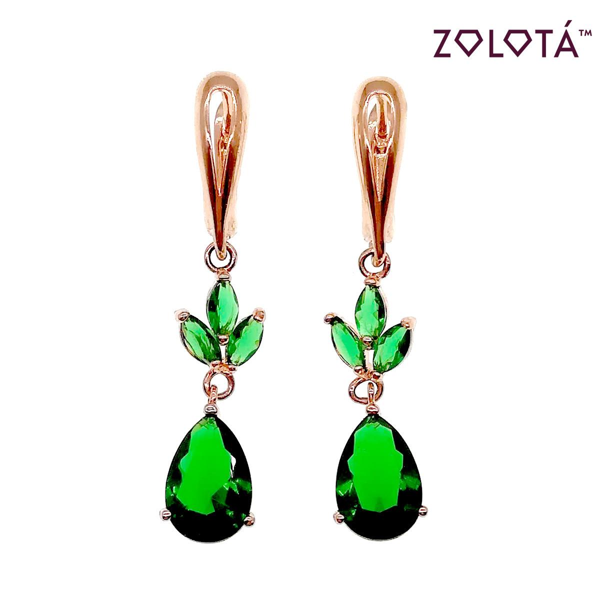 Сережки Zolota з зеленими фіанітами (куб. цирконієм), з медичного золота, в позолоті, ЗЛ00439 (1)