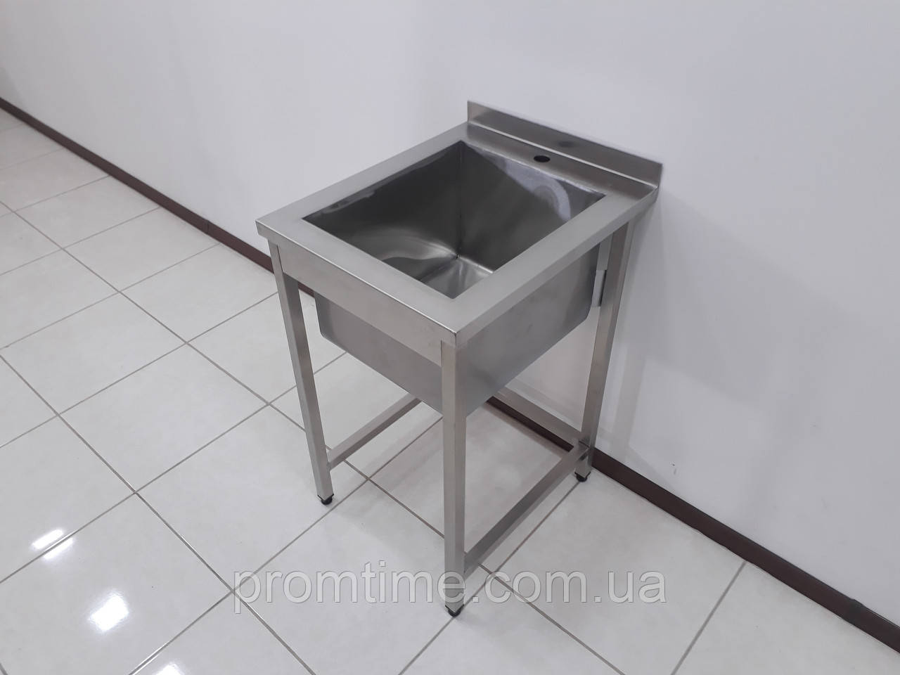 Ванна моечная, мойка односекционная с бортом из нержавеющей стали 500х600х850