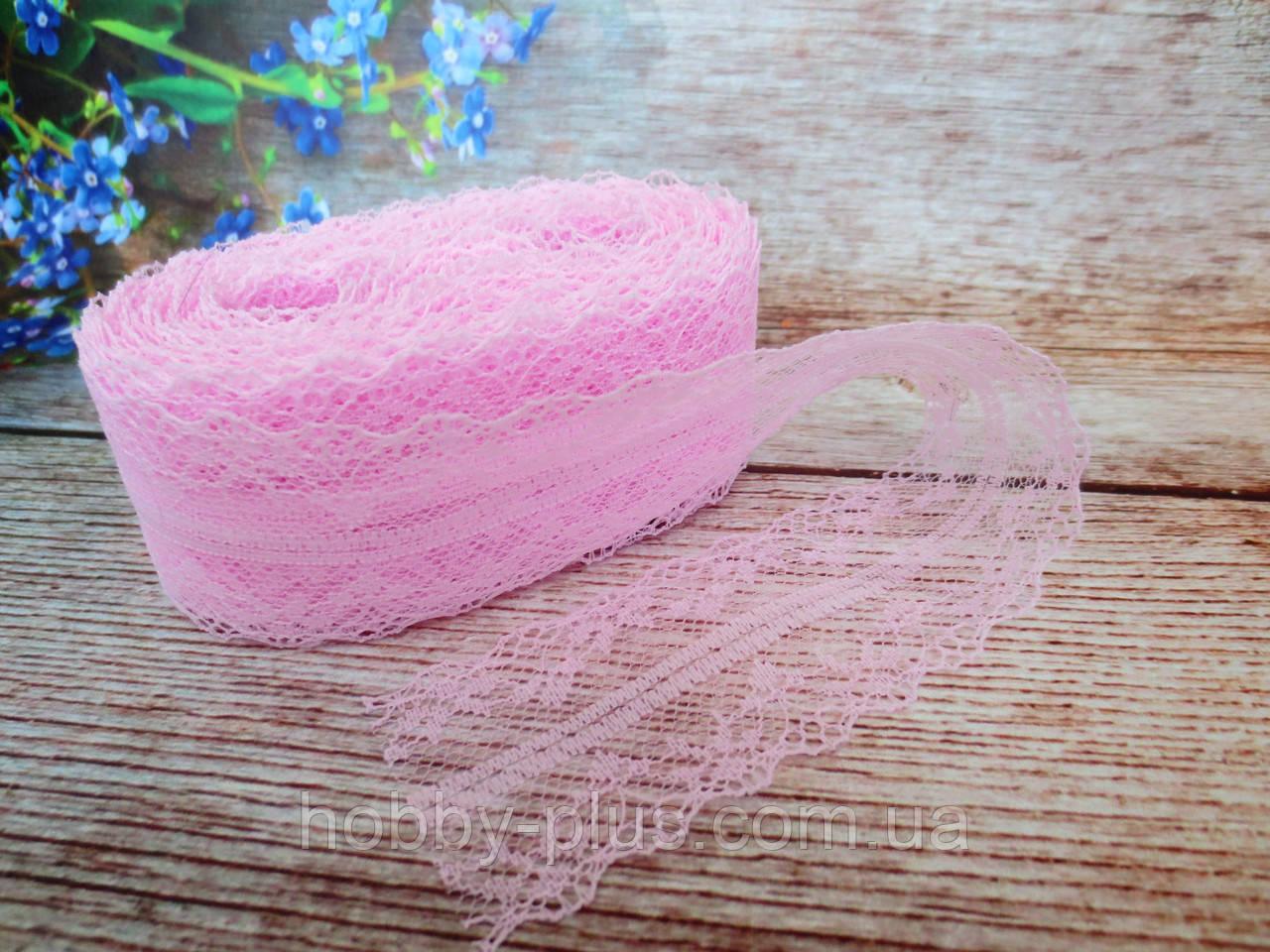 """Мереживо """"Квіткове плетіння"""", 4 см, колір світло-рожевий"""