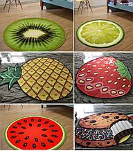 🍉Безворсовый коврик 3D 80 см. в виде фруктов и ягод антискользящий🥝, 8 видов~ для дома, селфи, декора🍓
