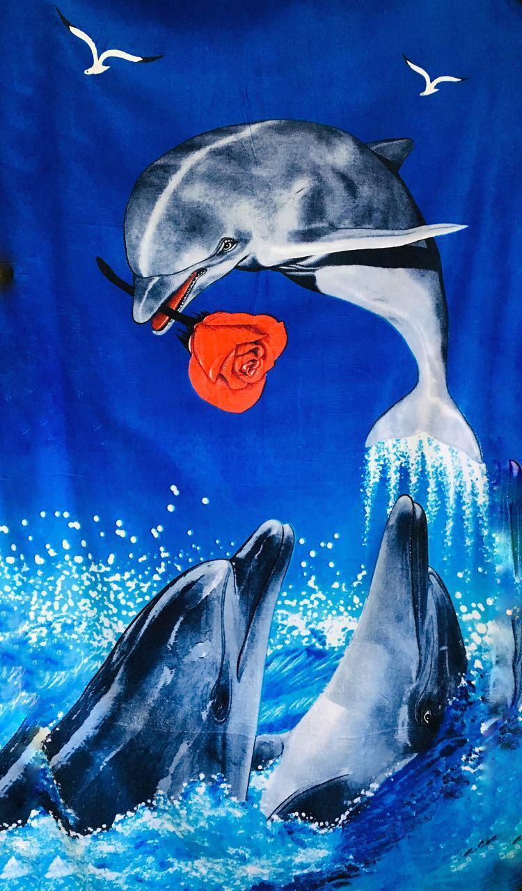 Пляжное махровое полотенце Влюбленный дельфин