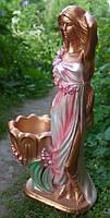 Садовая фигурка Светлана бронза в розовом платье 70 см