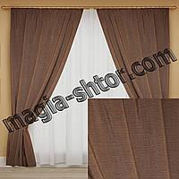 Шторы из ткани жатка коричневые, фото 1