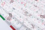 """Сатин ткань """"Сидящий мишка, косуля и розовая лисичка"""" на белом № 2320с, фото 2"""