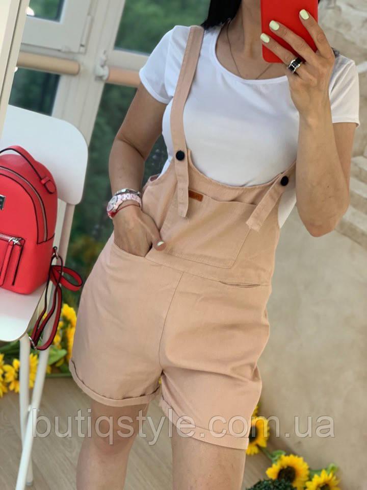 Женский летний коттоновый комбинезон с шортами на лямках